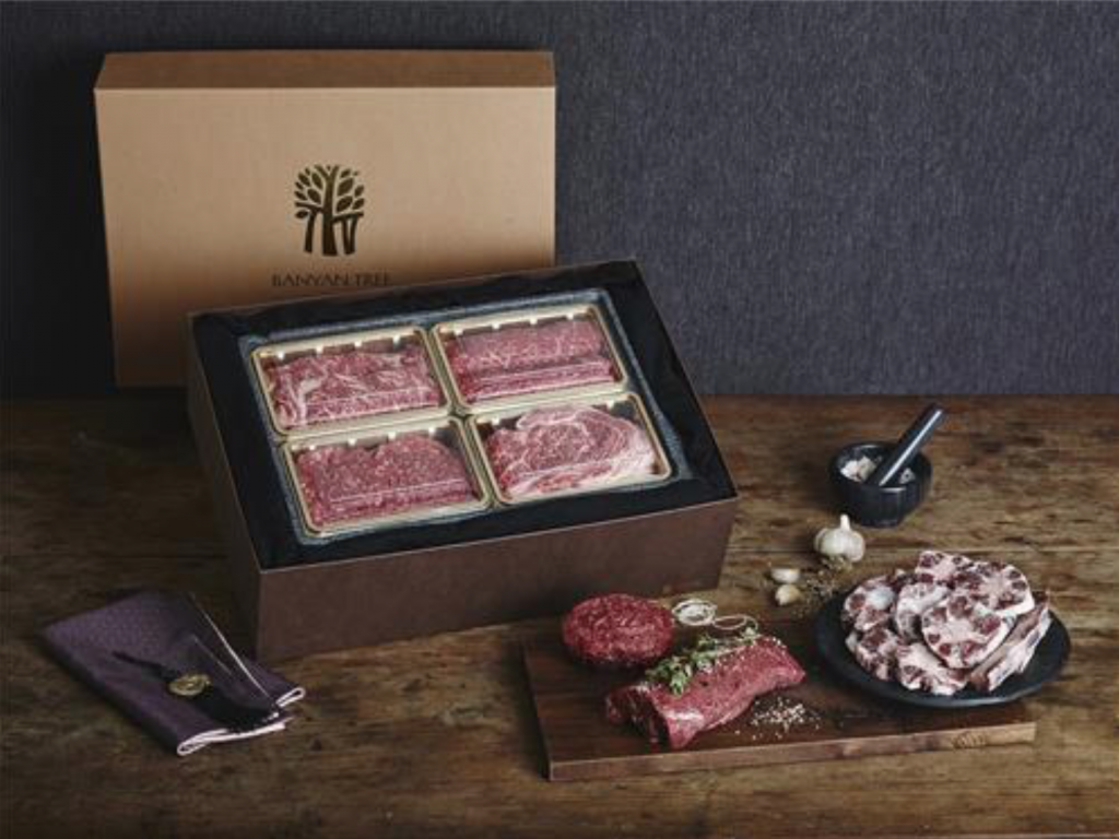 Banyan Tree Club & Spa Seoul introduced premium hanwoo gift boxes priced from 140,000 won to 380,000 won. (image: Banyan Tree Club & Spa Seoul)