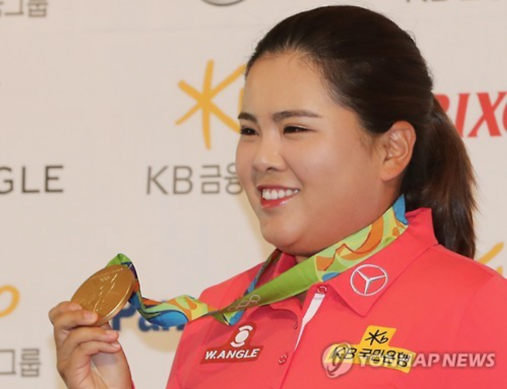 According to Park, although she does look at the ball and the club when fixing her address, she goes into a state of near-unconsciousness right before the stroke. (image: Yonhap)