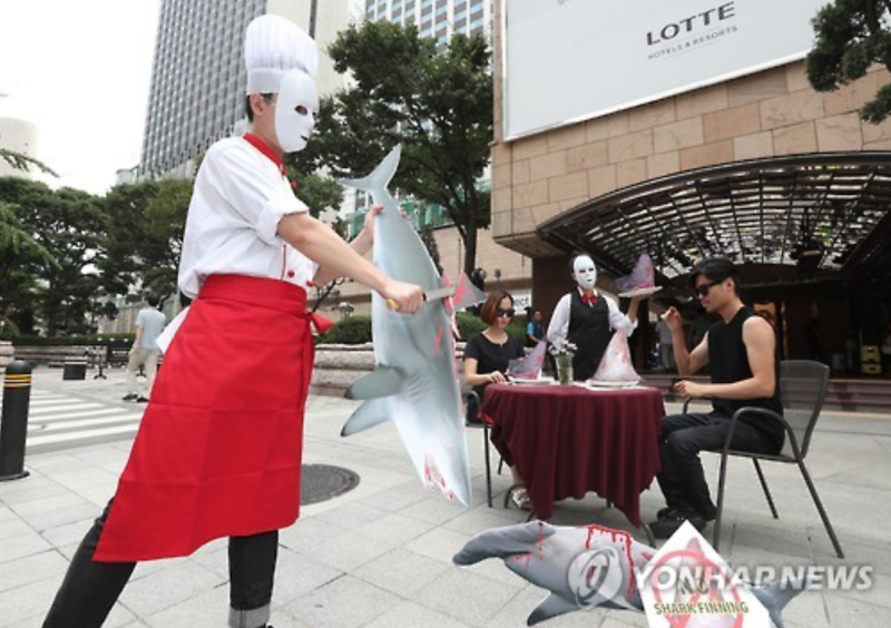 Environmentalists Protest against Shark Fin Consumption in Central Seoul