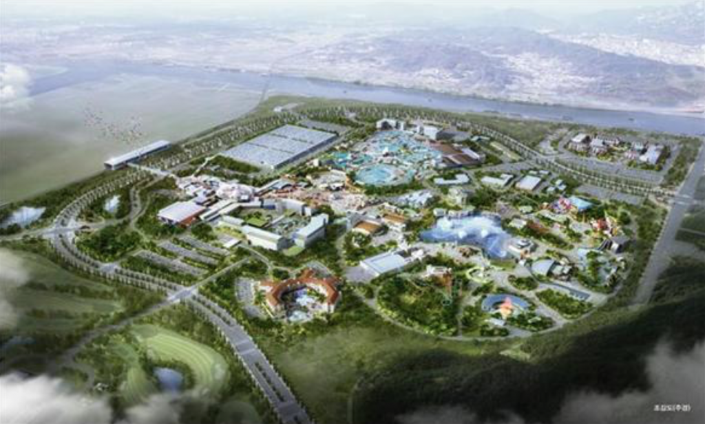 K-Water estimates around 5 trillion won (US$4.45 billion) will be invested in the complex envisioned on a 4.2 square-kilometer plot, which will include the Universal Studio theme park and a Korean pop concert arena, as well as accommodations, a golf resort, a water park and a shopping center. (image: K-water)