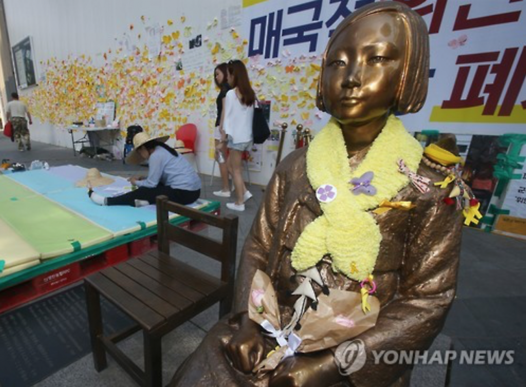 Life-size statue of a girl symbolizing South Korean victims who were sexually enslaved by Japanese troops during its occupation of the Korean Peninsula (1910-45) in front of the Japanese Embassy in central Seoul. (image: Yonhap)