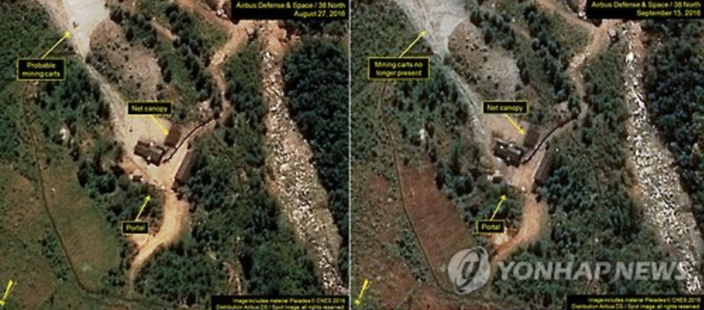 There satellite images provided by 38 North which monitors North Korea's military moves on Sept. 17, 2016, show renewed activity at the Punggye-ri nuclear test site in North Hamgyeong Province. (image: Yonhap)