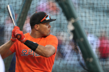 Orioles Train with Hangul Jersey of Korean Left Fielder