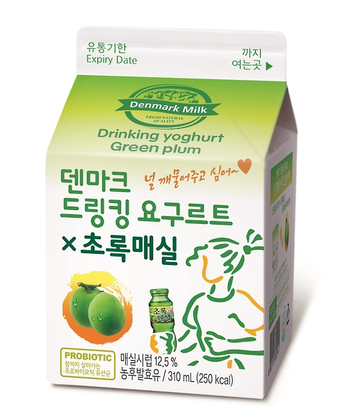 The company recently launched Denmark Drinking Yoghurt Green Plum, a joint product developed alongside Woongjin Foods. (image: Dongwon F&B)