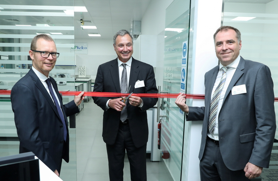 CP Kelco commemorated the expansion of its Dubai office, including a new laboratory for food and beverage applications, with a ribbon-cutting ceremony and site tour for customers and distributors on October 11, 2016. CP Kelco senior executives who hosted the event were (pictured, left to right): Klaus Bjerrum, SVP, Growth & Innovation; Don Rubright, President; and Jerome Bera, SVP, Global Marketing & Commercial (image: CP Kelco)