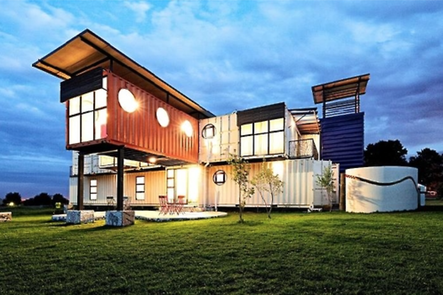 Modular house made using shipping containers.