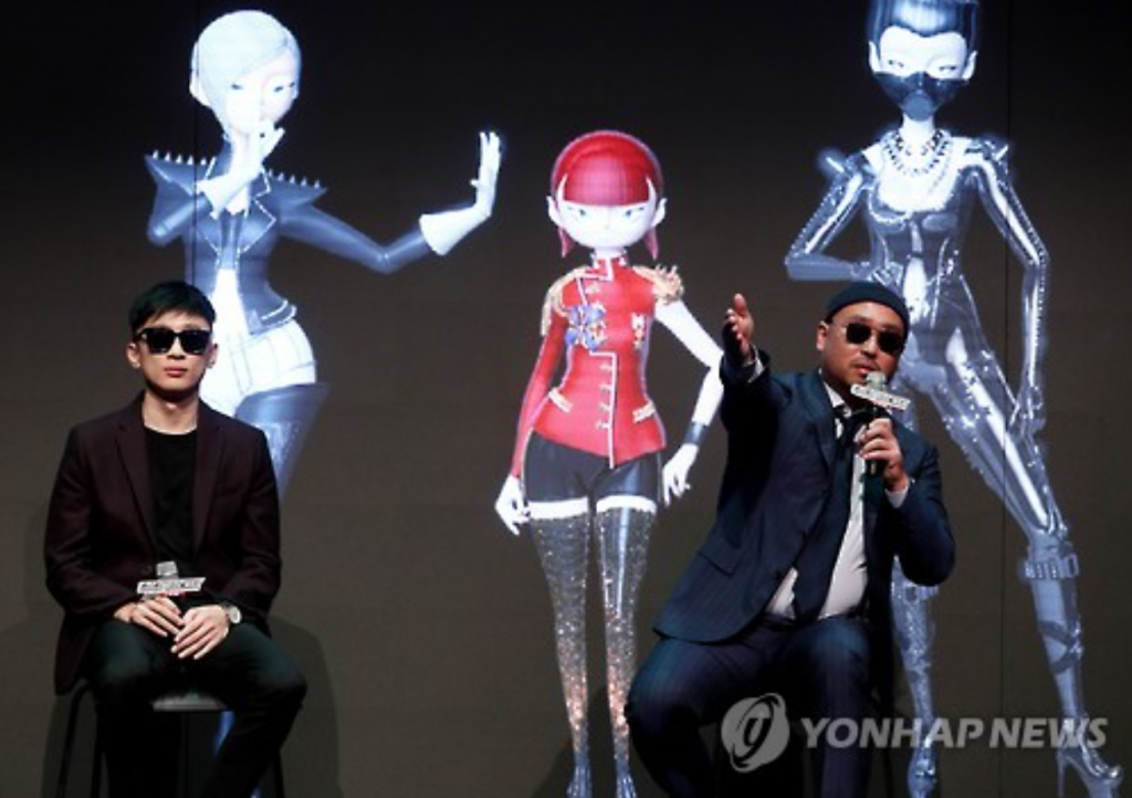 Gil (R), member of a hip hop group Leessang, with record producer Primary.