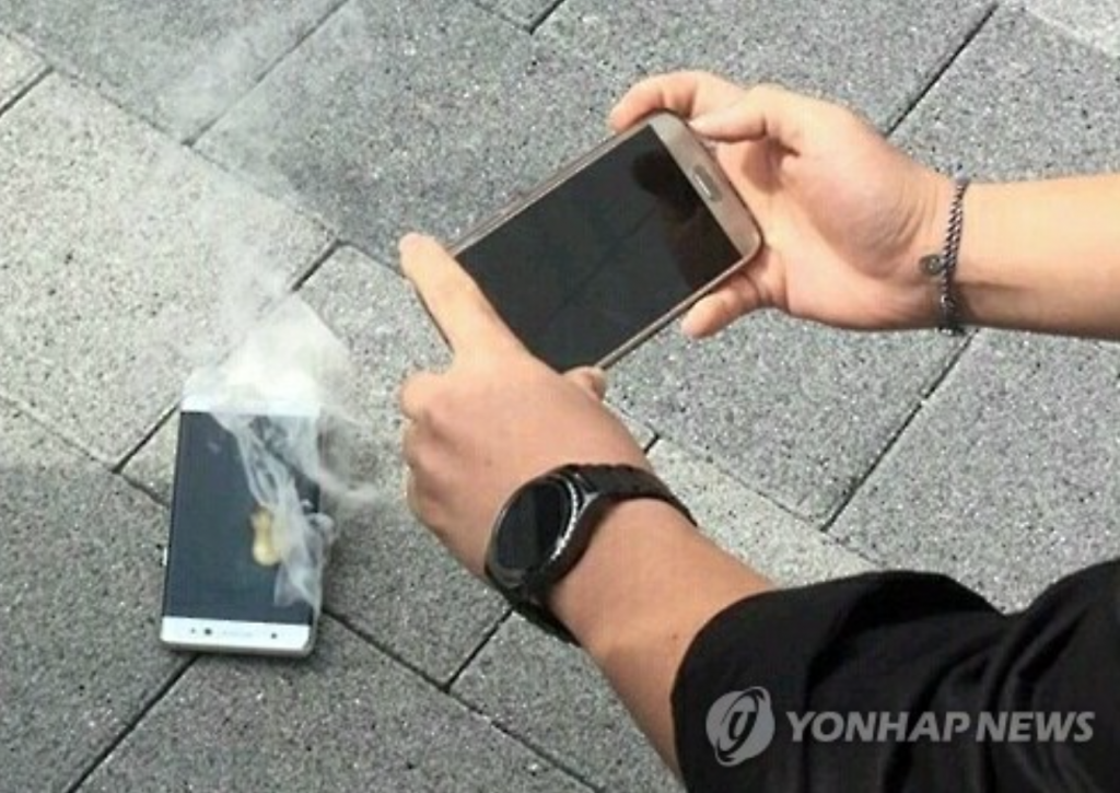 Another replacement model of the Galaxy Note 7 alleged caught fire in Korea on October 11. (image: Yonhap)