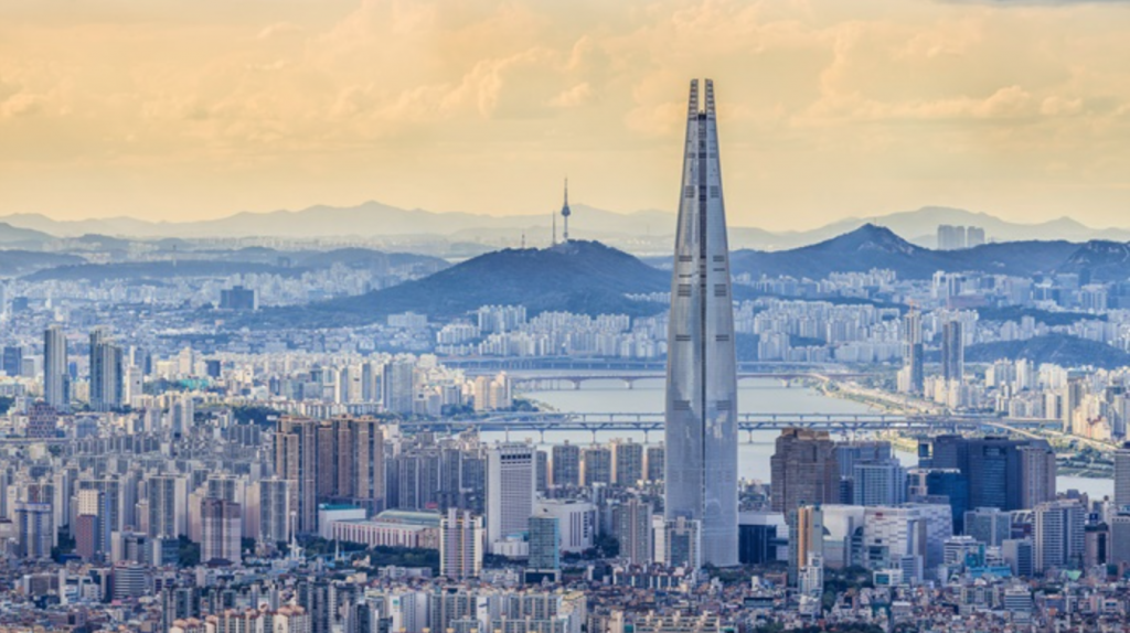 View of the Lotte World Tower, Korea's tallest skyscraper, in Seoul. (image: Lotte Corporation)