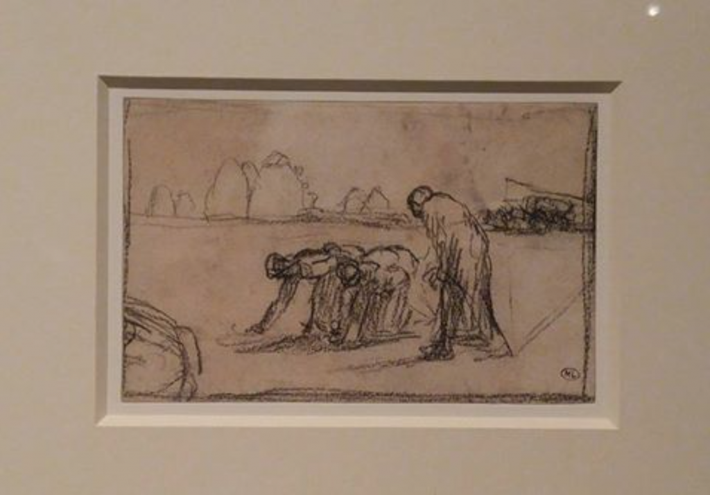 "One of the sketches for ""Des Glaneuses"" by Jean-Francois Millet. (image: Yonhap)"