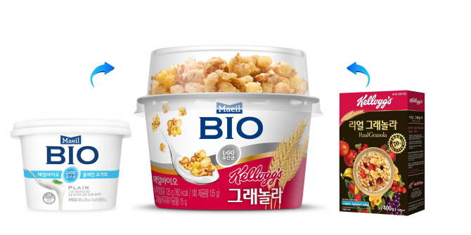 Maeil Dairies cooperated with Nongshim Kellog's, packaging Maeil's yogurt products with Nongshim's cereal lines. (image: Maeil Dairies)