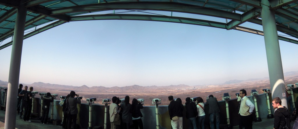 Built in 1986, the observatory is visited by about 800,000 foreign and local tourists annually. Within view are Kijong-dong, a propaganda village in the northern sector of the 4-kilometer-wide zone that separates the two Koreas, or the now-closed inter-Korean industrial park in the North Korean border city of Kaesong. (image: Wikimedia)