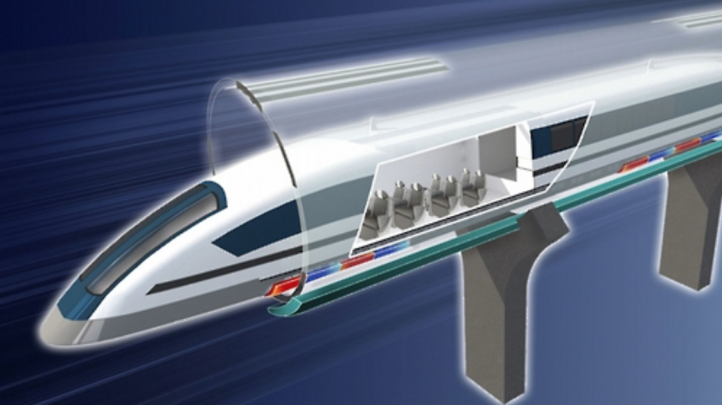 """According to the ministry, the key technology for the capsule train is to reduce the tube's atmosphere down to 0.001 atm, and make the train """"fly"""" through the tube at subsonic speed using electromagnetic force. (image: Ministry of Science, ICT, and Future Planning)"""