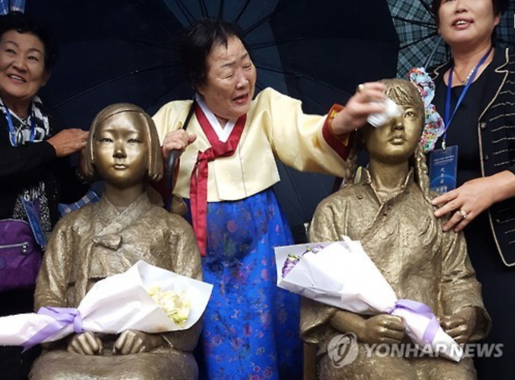 Comfort woman statues erected at Shanghai Normal University in China on October 22.