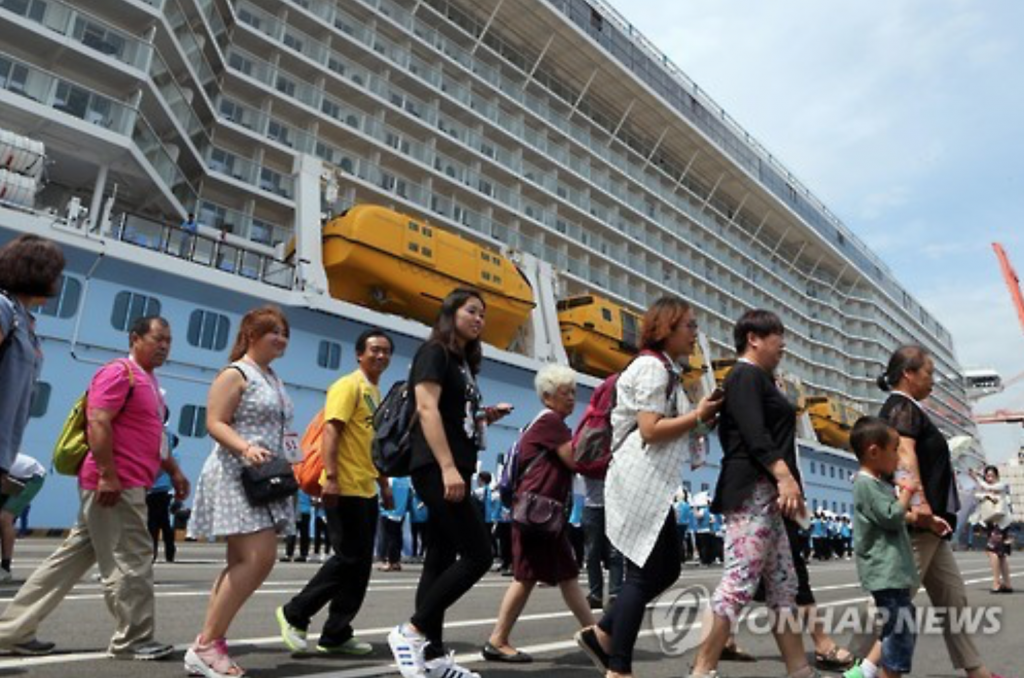 Chinese travelers get off a 168,000-ton cruise ship, the Ovation of the Seas, upon its arrival in the southern port city of Busan on June 30, 2016. (image: Yonhap)