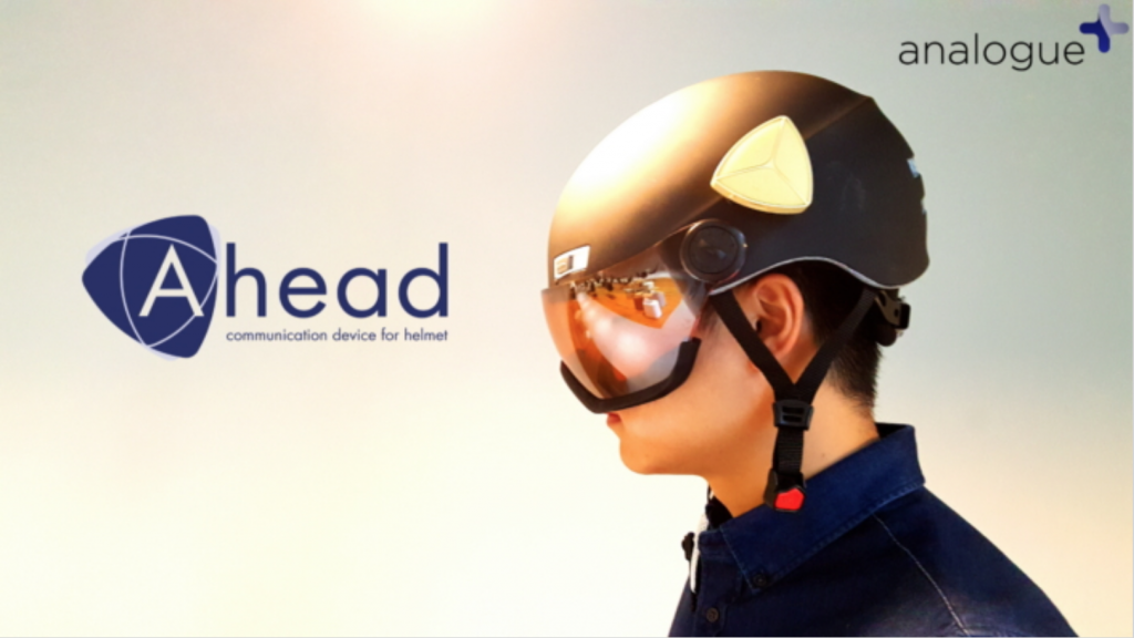 Ahead, a communications device attached to safety helmets. (image: Samsung Electronics)