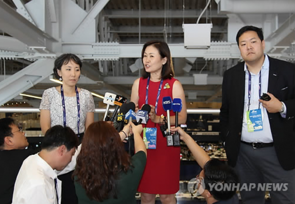 Lisa Shin (L), Michelle Park Steel (C) and Jason Chung (image: Yonhap)