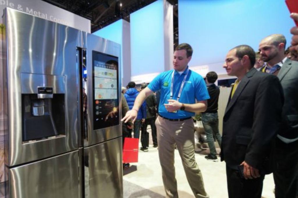 Samsung fridge on display at CES 2016. (image: Samsung Electronics)
