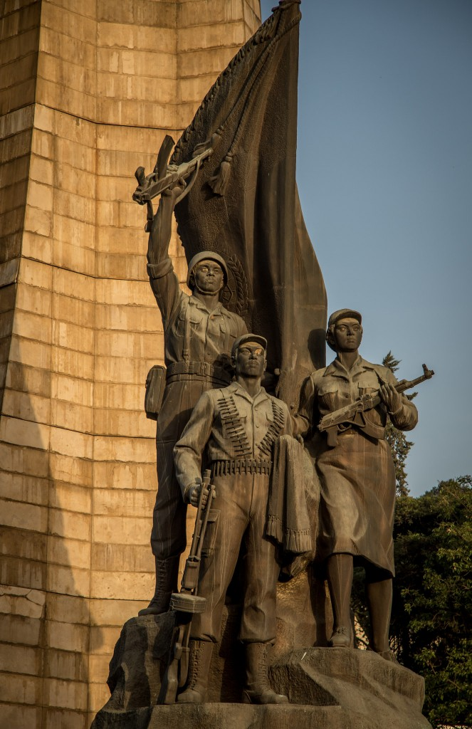 Inaugurated in 1984 as a memorial to Ethiopian and Cuban soldiers involved in the Ogaden War, it is composed of a central obelisk that is 50 meters tall, with three soldiers standing in front holding Kalashnikov rifles. (image: Flickr/ Andrew Moore)