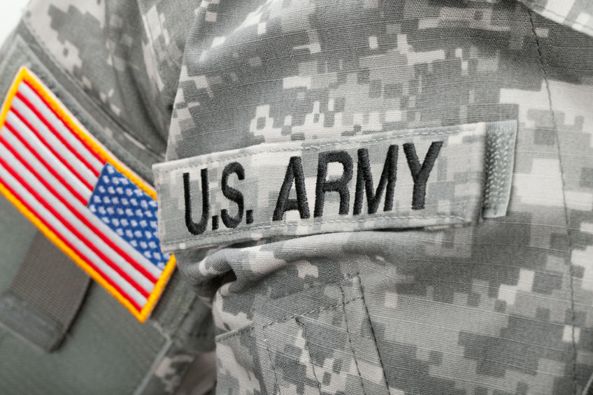 36571909 - us army and flag patch on solder's uniform