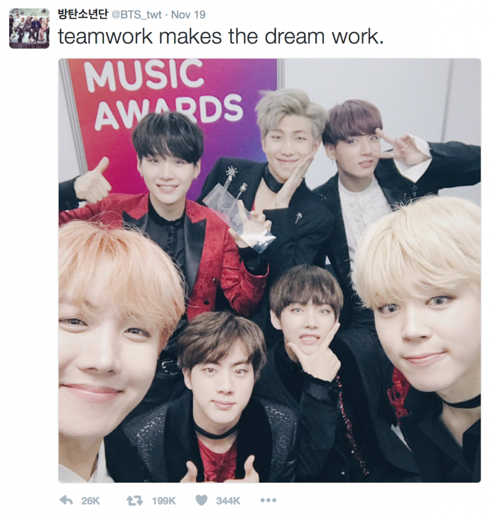 "The ""Golden Tweet"", the tweet with most retweets (shares), went to the selfie tweet BTS posted after winning the Album of the Year at the 2016 Melon Music Awards. (image: Twitter capture)"