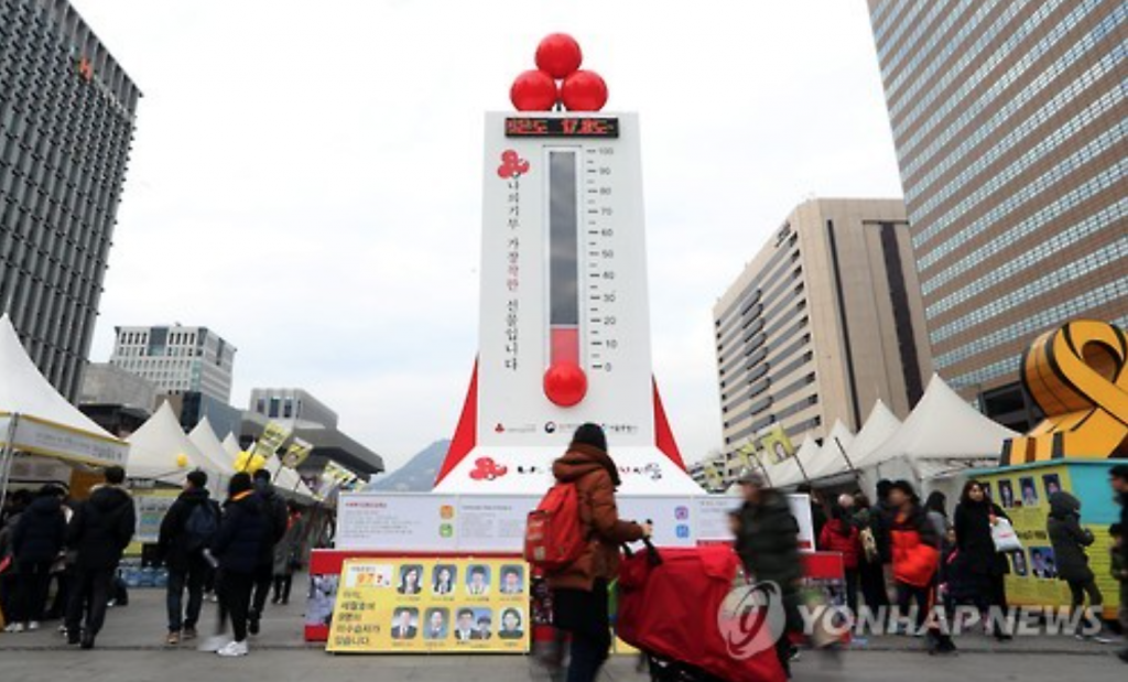 Thermometer of Love tower at Gwanghwamun Square, Seoul.