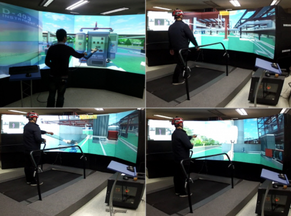 The simulation content is displayed on a large screen in front of the trainee, who uses the treadmill to explore the area, while the simulator recognizes eyesight direction and the movement of the trainee's arms and legs to reflect them in the virtual content. (image: KIMM)