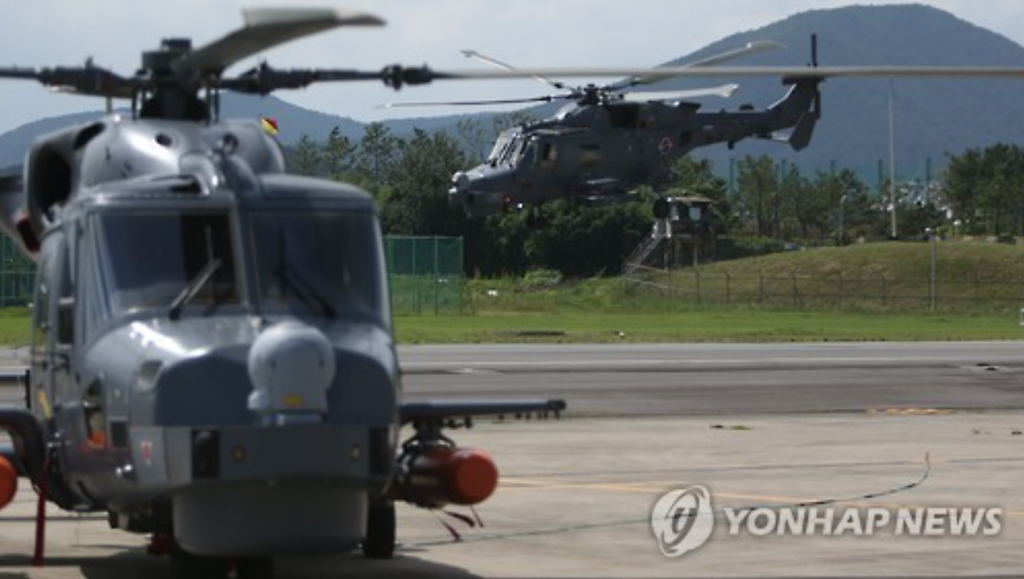 AW-159 maritime choppers during a test flight at a Navy unit in Changwon, 398 km south of Seoul. (image: Yonhap)