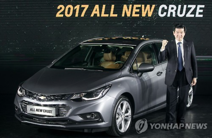 James Kim, CEO of GM Korea, poses for a picture at a media event held in Seoul, South Korea on Jan. 17, 2017, to introduce the all new Cruze compact car. (image: Yonhap)