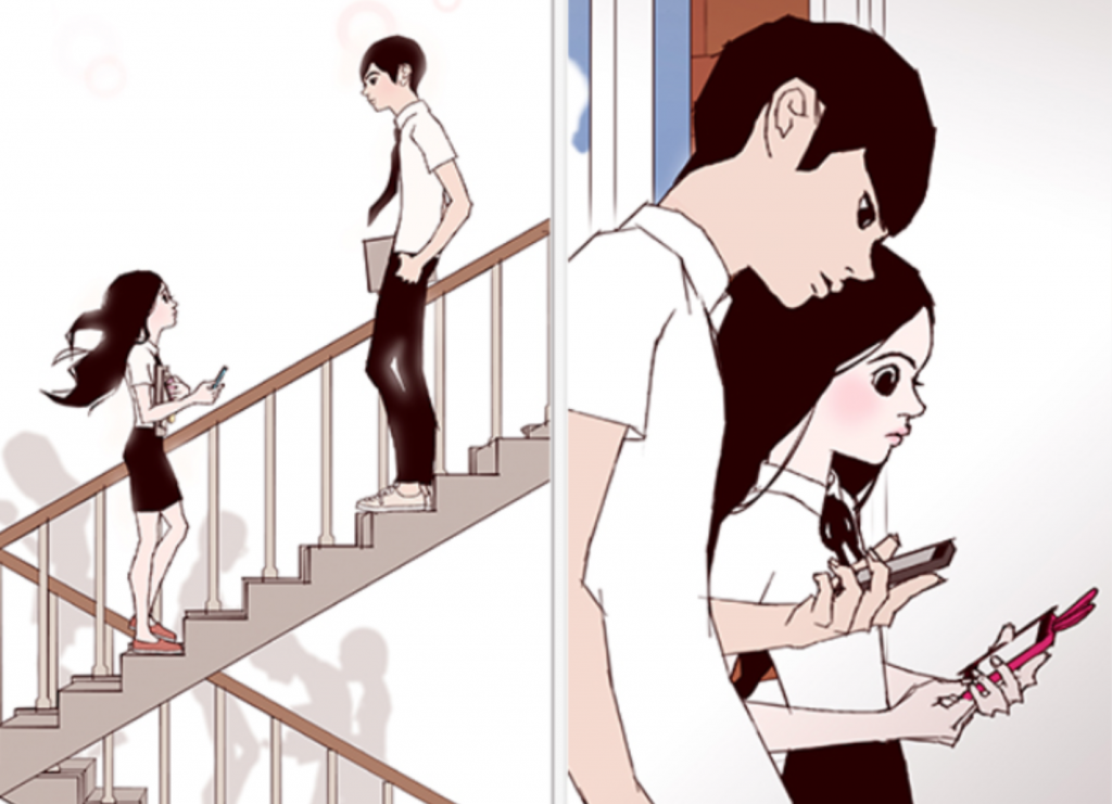 "A captured image from the webtoon series ""Love Alarm"" written by graphic novelist Chon Kye-young."