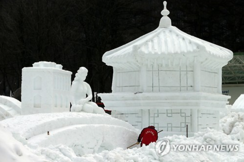 Mount Taebaek Boasts Best Snow Works in Korea