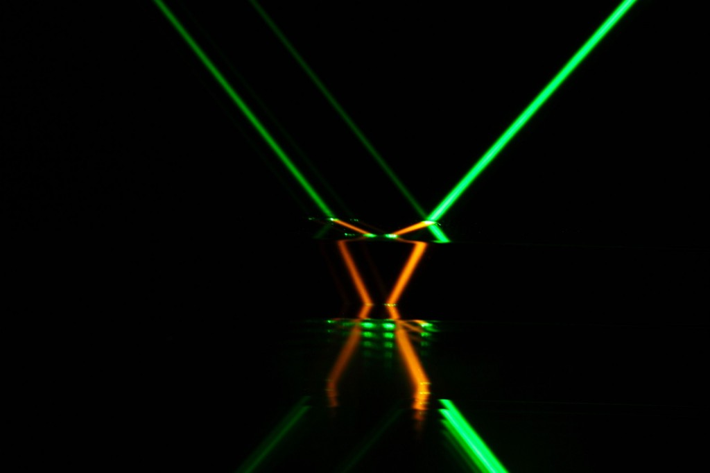 By overlapping two separate laser beams, the team was able to inscribe roughly 100 10-micrometer (millionth of a meter) lines in just 0.1 seconds. (image is not related to this article)