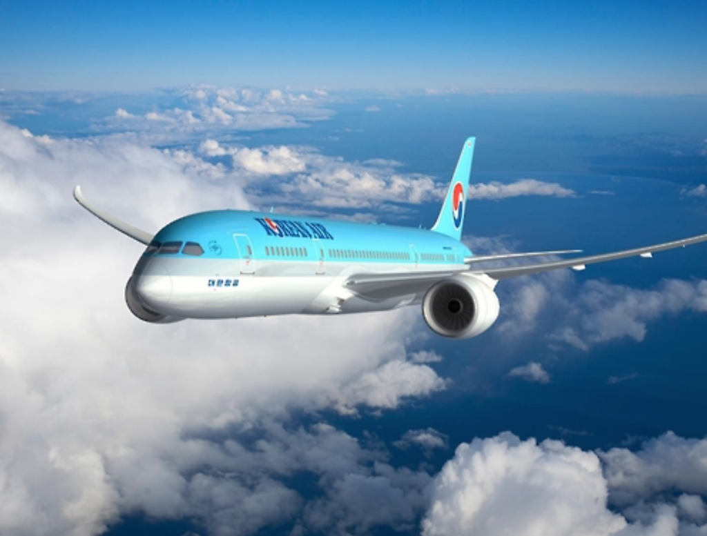 The new passenger jet is 20 percent more efficient, while it produces 20 percent less greenhouse gas, the airline said. (image: Korean Air)