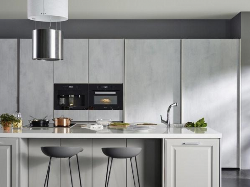 In the early 2000s, 90 percent of kitchen furniture came in more or less feminine colors like white, yellow, and red, but Korea is now seeing a shift to achromatic colors – white, black, and grey. (image: Hanssem)