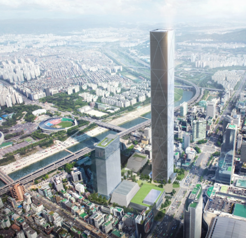 Hyundai Motor Co. and some of its affiliates purchased the 79,345-square-meter plot in southeastern Seoul for 10.55 trillion won (US$8.96 billion) in late 2015 to build a Seoul landmark featuring the country's tallest skyscraper, a global business center, a hotel, and a convention and exhibition center. (image: Hyundai)