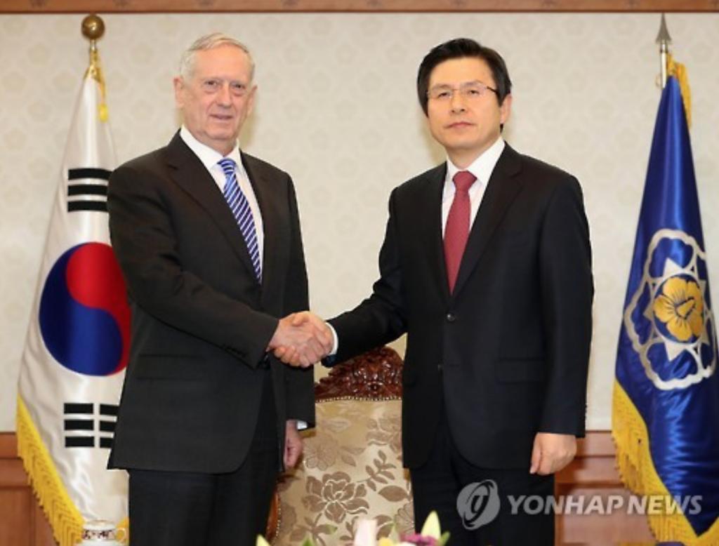 Defense secretary James Mattis (L) with acting president Hwang Kyo-ahn.
