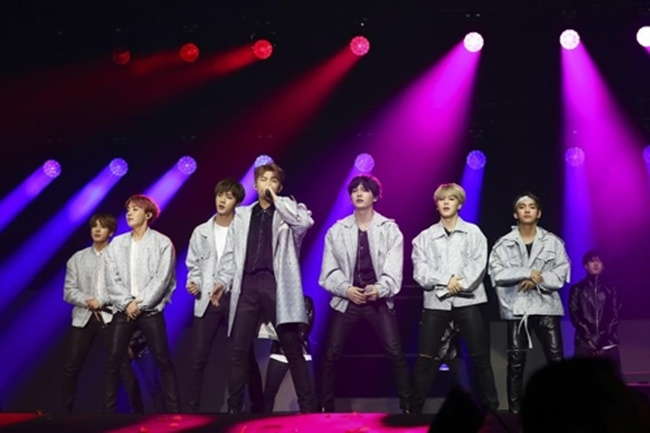 This photo provided by Big Hit Entertainment shows a highlight from boy band BTS recent concert in South America. (Image: Yonhap)
