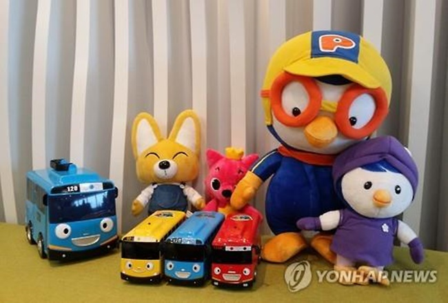 The file photo shows popular characters of South Korean animations. (Image: Yonhap)