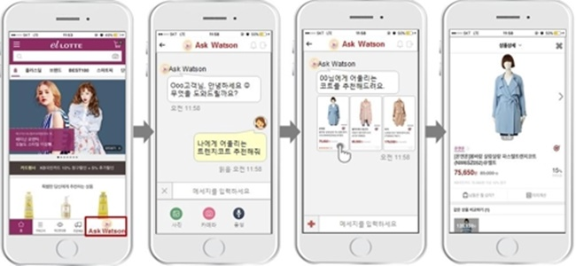 Lotte's new 'Recommendation Bot' will work as a shopping advisor to make suggestions through voice messages or texts, and will give app users information on the latest trends and celebrity fashion news. (Image: Yonhap)