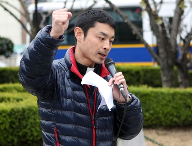 "He went on, saying, ""The Japanese government refuses to acknowledge its wrongdoings and continues to oppress the marginalized with a social structure built at the expense of them. (Image: Yonhap)"