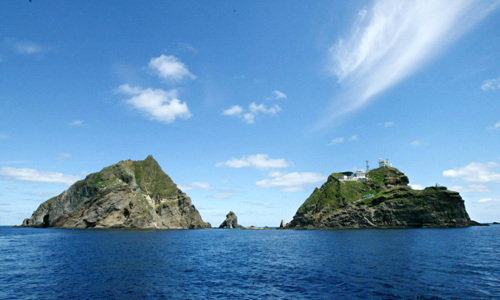 "Dokdo consists of two tiny rocky islets surrounded by 33 smaller rocks. The first historical references to the island were cited in Korean documents, which make reference to them as a part of an independent island state known as ""Usankuk"" (Ullung Island) which was incorporated into the Korean Shilla Dynasty in 512 AD. (Information extracted from dokdoresearch.com, Image courtesy of Wikimedia Commons)"