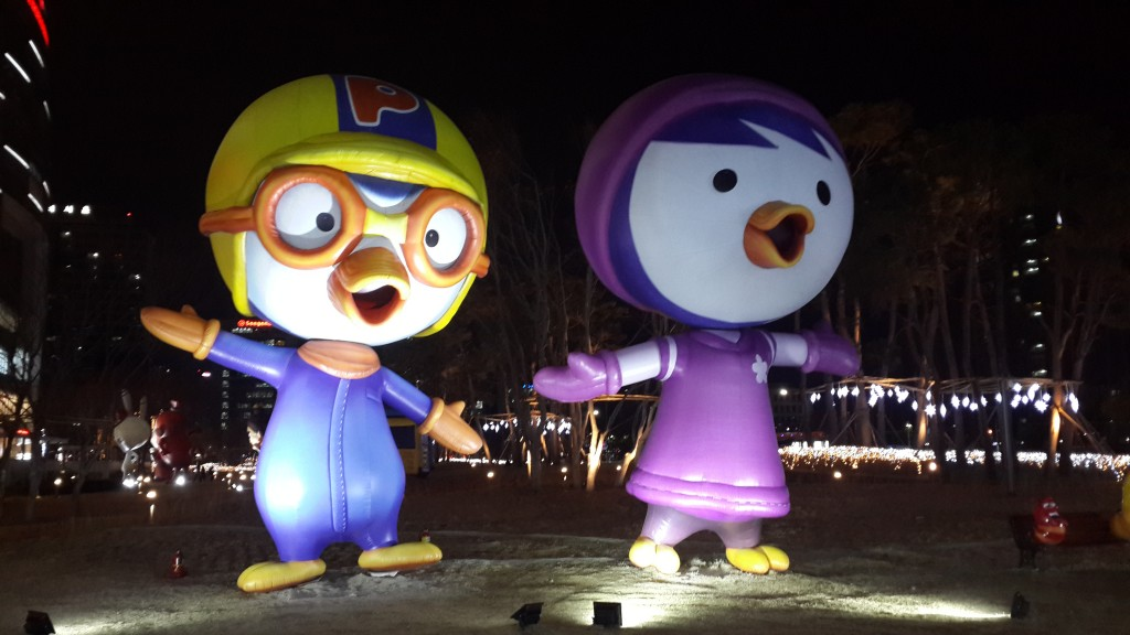 Pororo statues in Lotte world 2 Seoul South Korea. Pororo is one of the most popular animated film's characters. (Image courtesy of Wikimedia Commons)