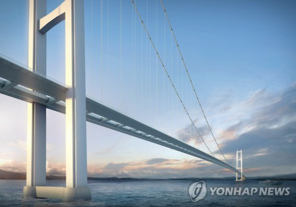 Rendered image of the Canakkale 1915 Bridge, which will become the world's longest suspension bridge when built. (image: Yonhap)