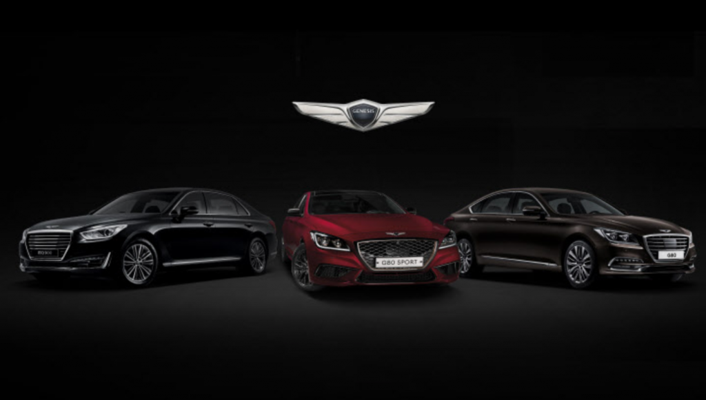 The G80 sedan is the second Genesis model launched by Hyundai Motor in Russia. It comes in two trims -- a 2.0 turbo engine model and a 3.3 turbo engine model, the company said. From left to right - G90, G80 Sport, and G80. (image: Hyundai)