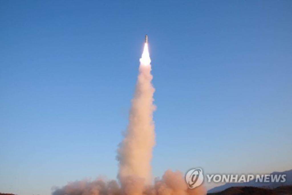 North Korea's Pukguksong-2 medium-range ballistic missile launched at Banghyon air base in North Pyongan Province on Feb. 12, 2017. (image: Yonhap)