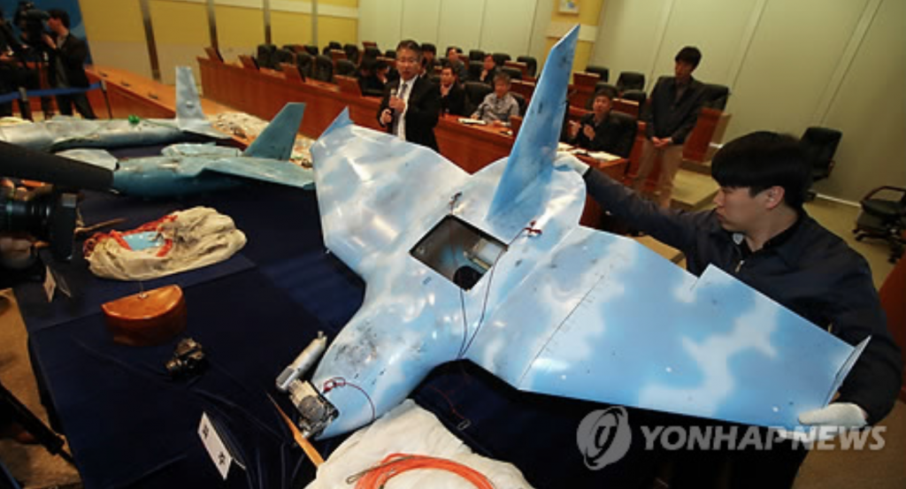 This photo taken on April 11, 2014, shows three drones which North Korea was presumed to send to South Korea for spying purposes. (image: Yonhap)