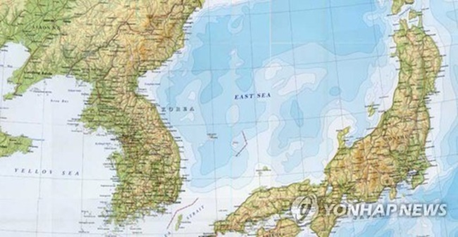 "A British map calling the body of water between South Korea and Japan ""East Sea."" (Image: Yonhap)"
