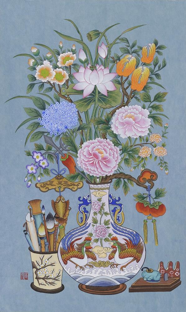 "Choi Eun-ju's ""Flower Vase""  (image: Korean Folk Painting Association)"