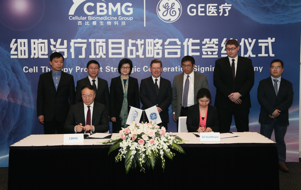 Tony Liu, CEO of CBMG (seated, left) and Angela Chen of GE Healthcare Life Sciences China (seated, right) sign agreement to establish strategic research collaboration. (image: Cellular Biomedicine)