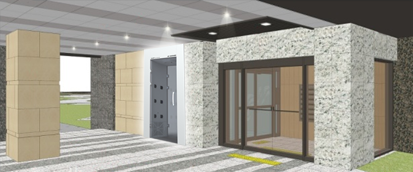 An air shower will be built at the entrance to the building. (image: Samsung C&T)